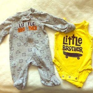Set of 2 Newborn 'Little Brother' onesies